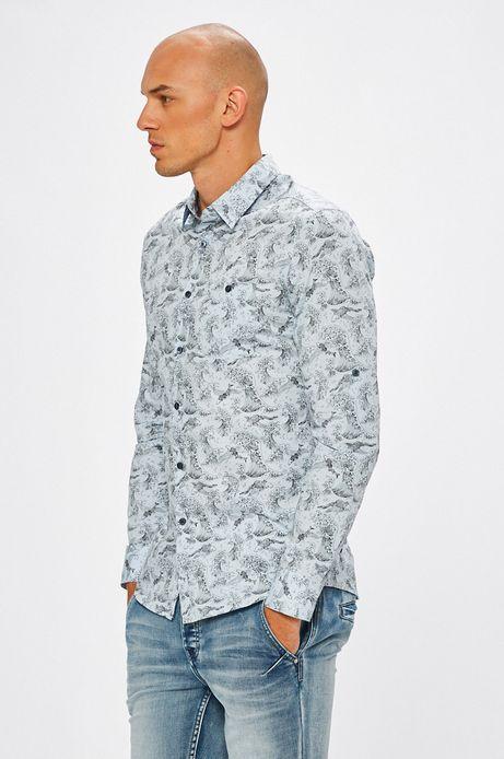 Man's Koszula męska niebieska w fale morskie