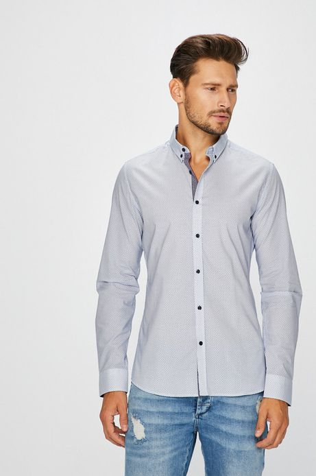 Man's Koszula męska niebieska z lekko usztywnionym kołnierzykiem button-down