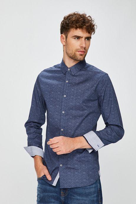 Koszula męska slim niebieska wzorzysta
