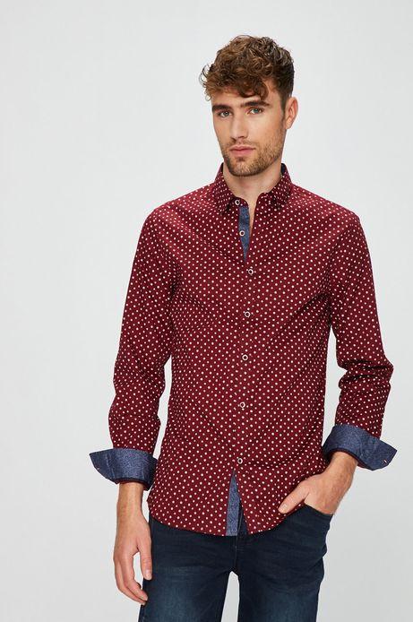 Koszula męska slim czerwona wzorzysta