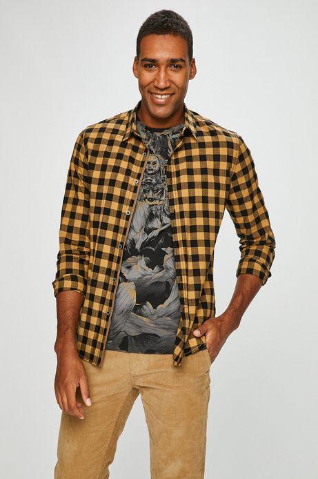 Koszula męska slim comfort żółta w kratę