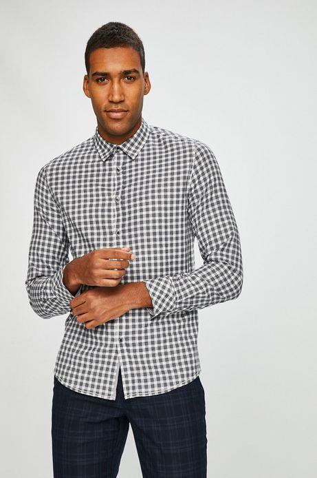 Koszula męska slim comfort szara w kratę