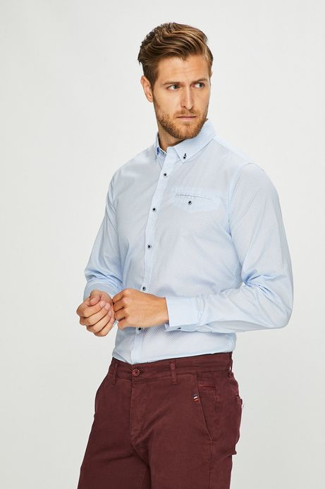 Koszula męska slim wzorzysta błękitna