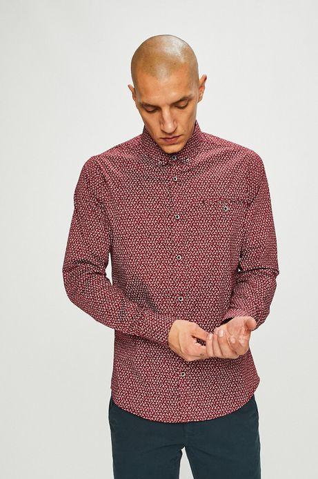 Koszula męska slim wzorzysta czerwona