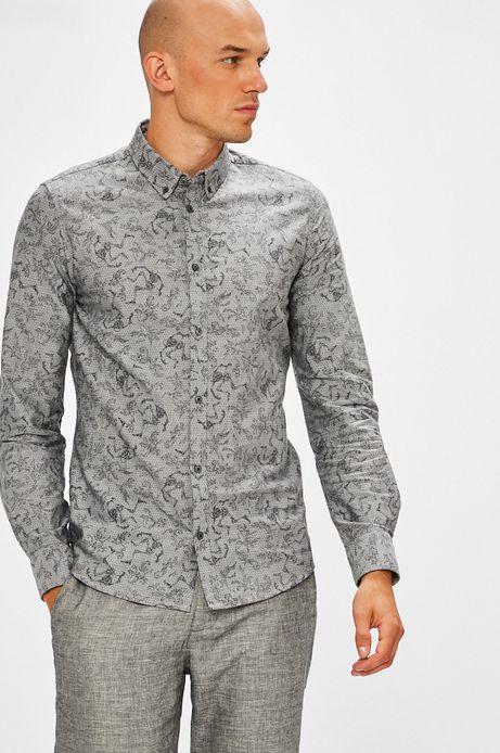 Man's Koszula męska szara we wzory z kołnierzykiem button-down