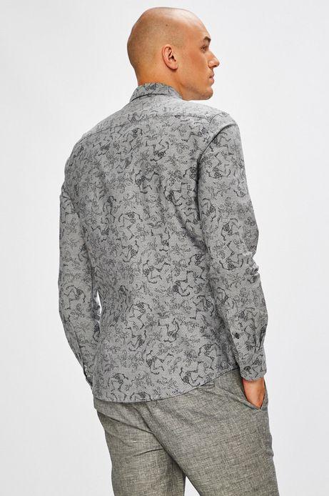 Koszula męska szara we wzory z kołnierzykiem button-down
