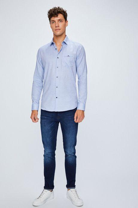 Koszula męska niebieska wzorzysta z kieszonką na piersi