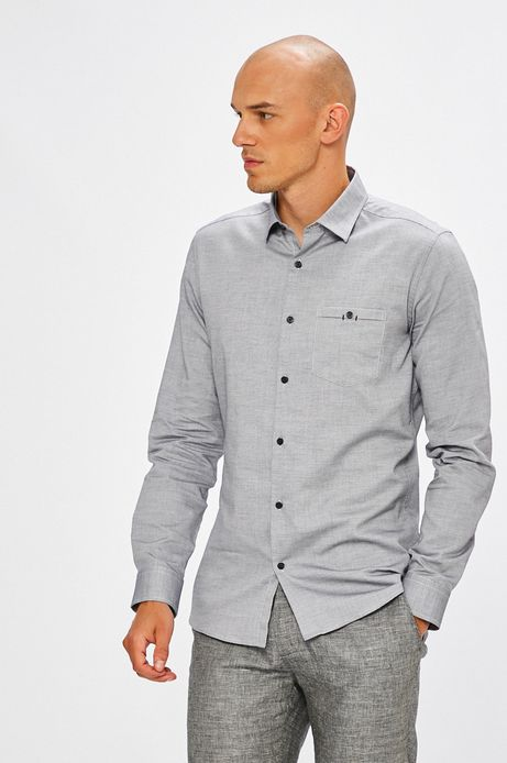 Koszula męska szara wzorzysta z kieszonką na piersi