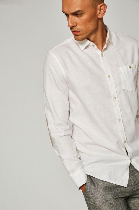 Man's Koszula męska z domieszką lnu biała