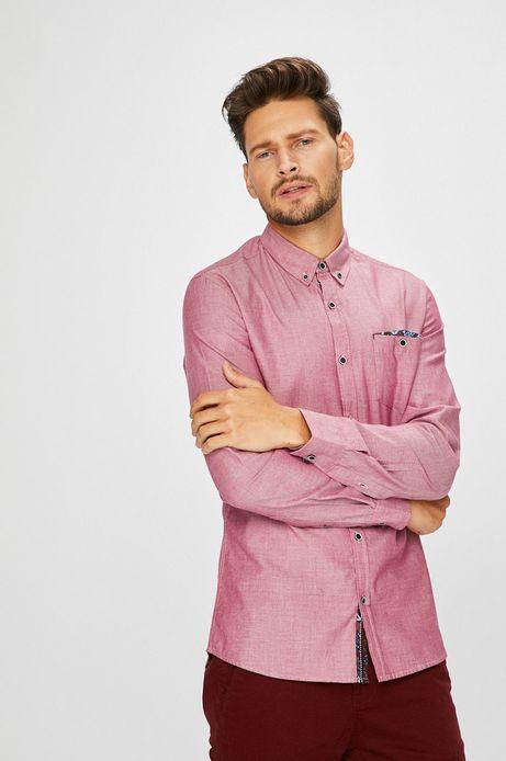 Man's Koszula męska różowa gładka z kołnierzykiem button-down
