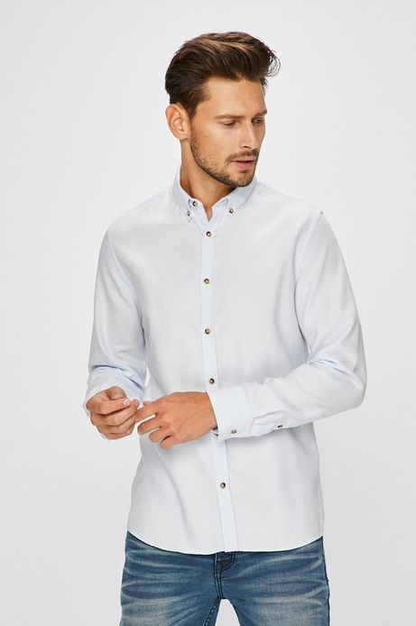Man's Koszula męska niebieska wzorzysta z miękkim kołnierzykiem button-down