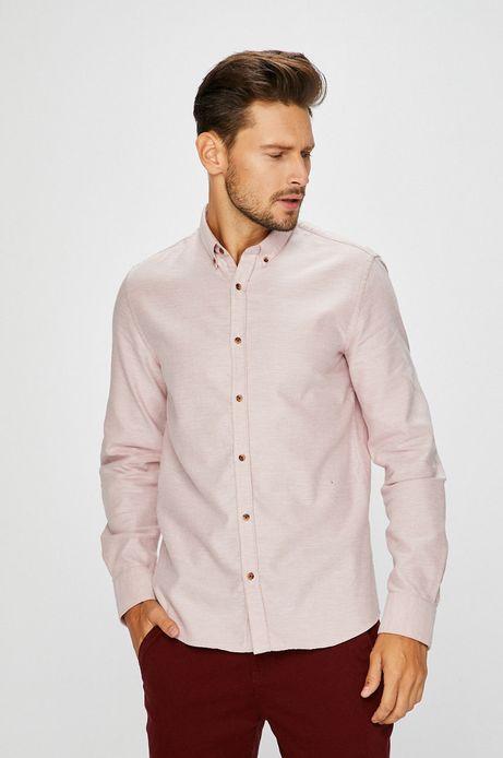 Man's Koszula męska różowa wzorzysta z miękkim kołnierzykiem button-down