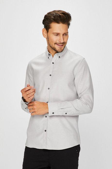 Man's Koszula męska szara wzorzysta z miękkim kołnierzykiem button-down