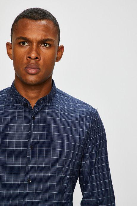Koszula męska granatowa w kratę ze stójką
