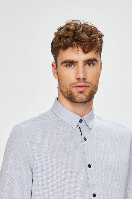Koszula męska niebieska wzorzysta z miękkim kołnierzykiem