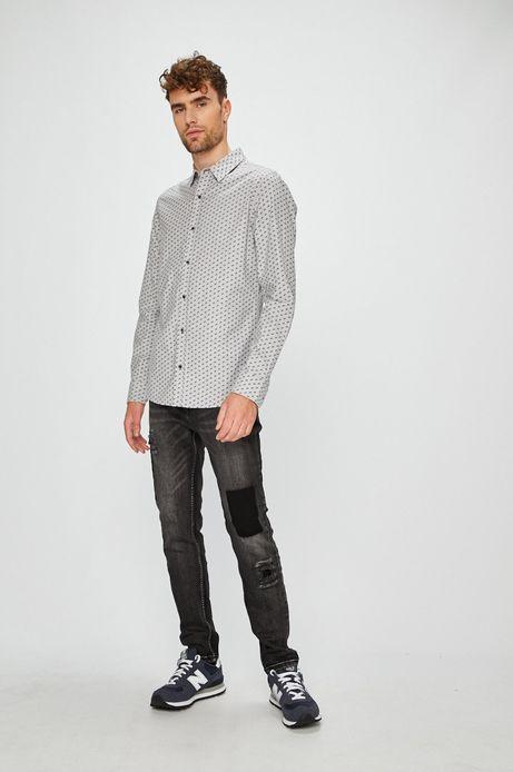 Koszula męska szara wzorzysta z kołnierzykiem kent