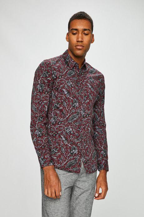 Koszula męska slim fit czerwona wzorzysta