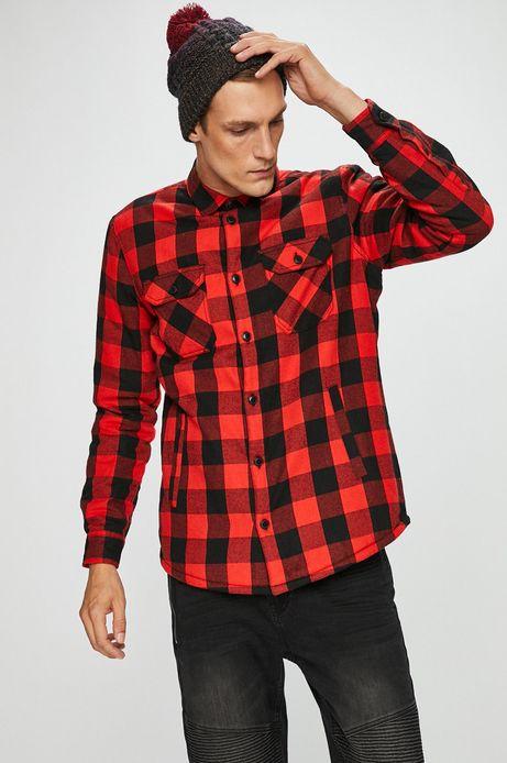 Koszula męska czerwona w kratę z ociepleniem