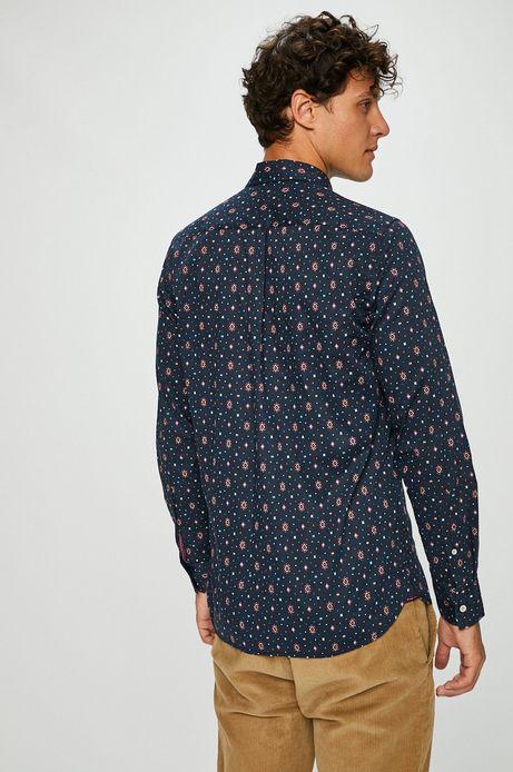 Koszula męska granatowa we wzory z klasycznym kołnierzykiem