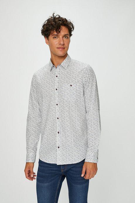 Koszula męska biała wzorzysta z kieszonką na piersi