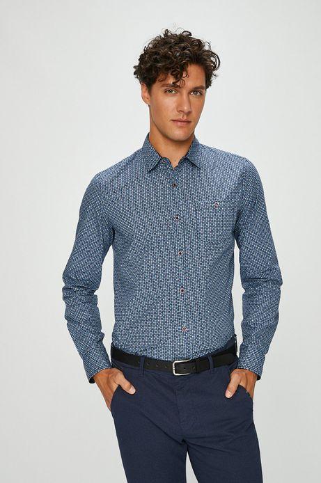 Koszula męska granatowa wzorzysta z kieszonką na piersi