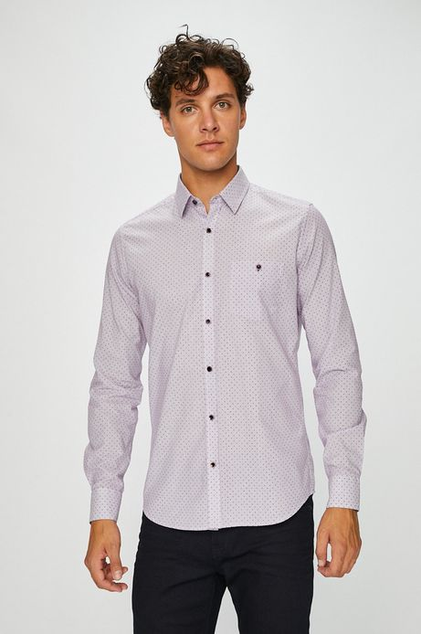 Koszula męska różowa wzorzysta z kieszonką na piersi