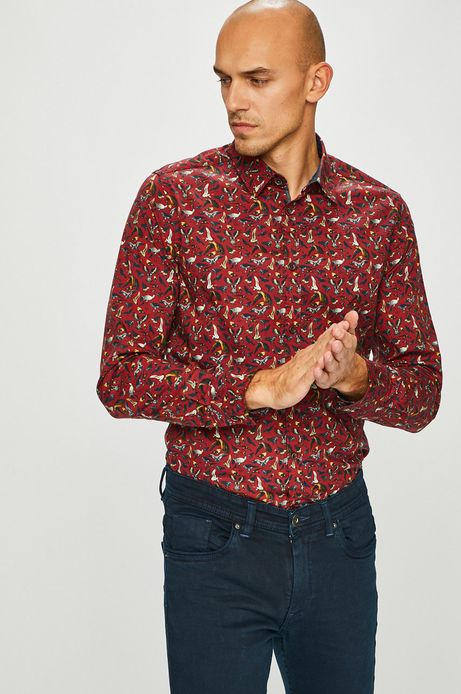 Koszula męska czerwona wzorzysta