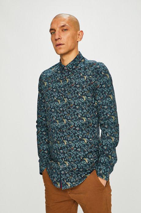 Koszula męska slim wzorzysta zielona