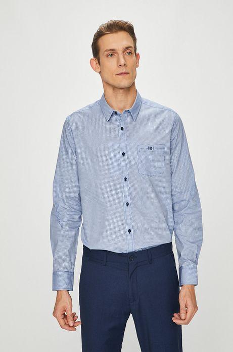 Koszula męska niebieska z klasycznym kołnierzykiem