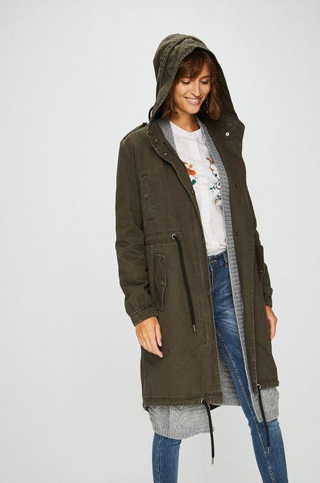Woman's Płaszcz damski zielony nieocieplany z kapturem