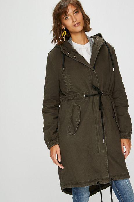 Płaszcz damski zielony nieocieplany z kapturem