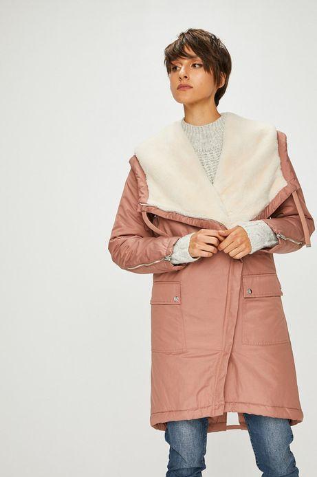 Płaszcz damski różowy ocieplany na podszewce