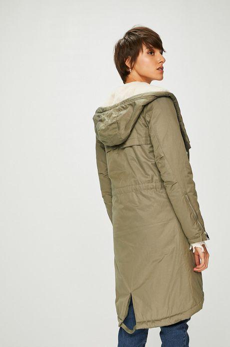 Płaszcz damski zielony ocieplany na podszewce