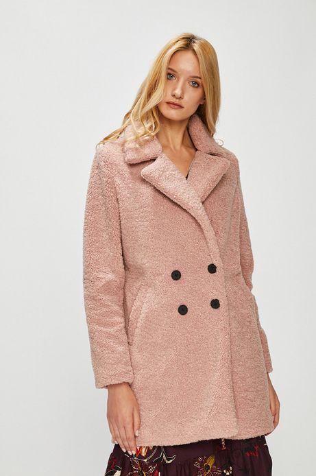 Płaszcz damski różowy zapinany na guziki