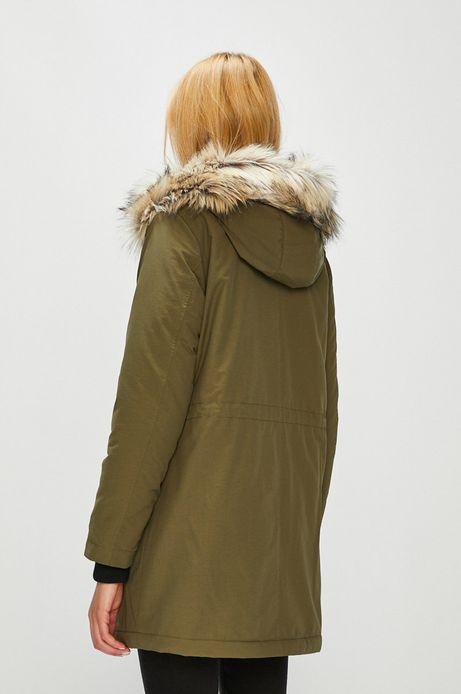 Płaszcz damski zielony z odpinanym futerkiem