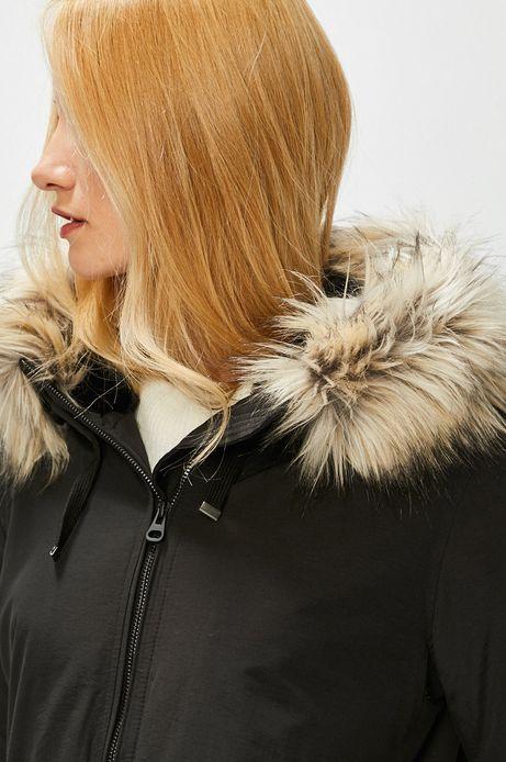 Płaszcz damski czarny z odpinanym futerkiem