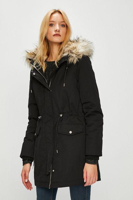Płaszcz damski czarny nieocieplany z kapturem
