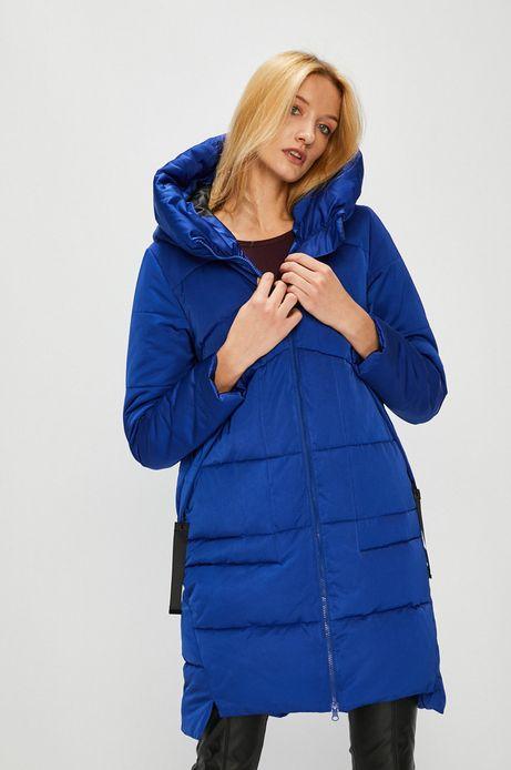 Płaszcz damski niebieski ocieplany pikowany