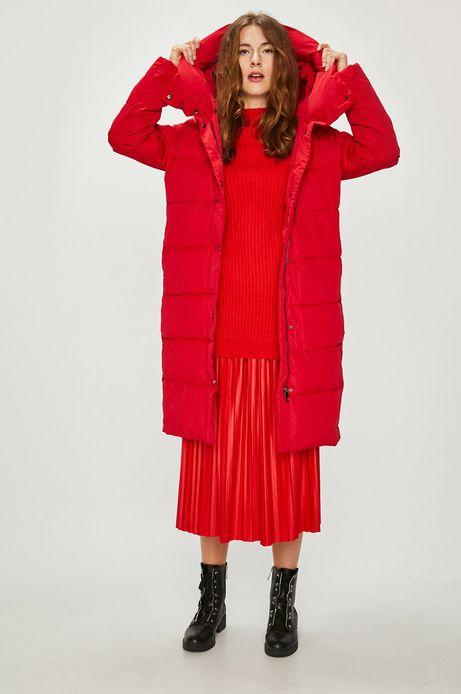 Kurtka damska czerwona długa pikowana