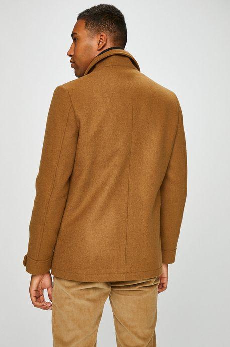 Płaszcz męski brązowy ocieplany na podszewce