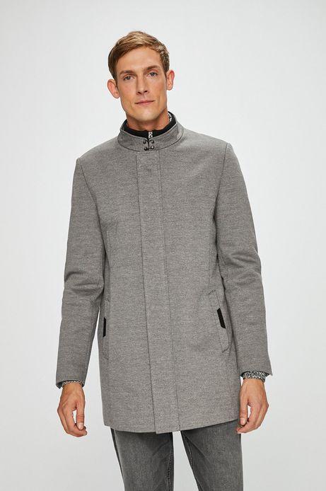 Płaszcz męski szary lekko ocieplany gładki
