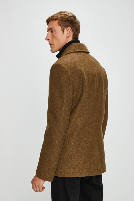 Płaszcz męski brązowy lekko ocieplany