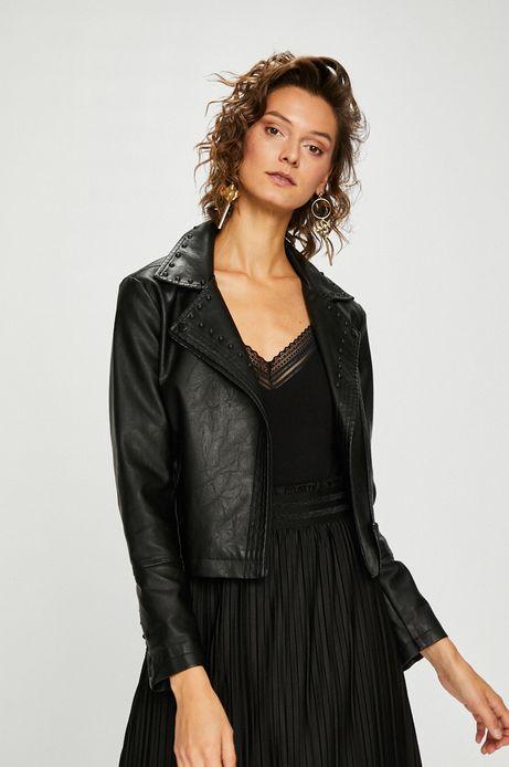 Woman's Kurtka damska czarna ramoneska z ćwiekami