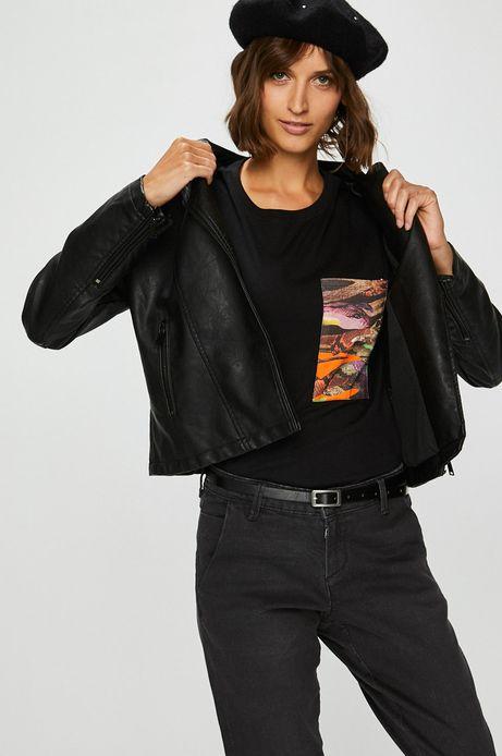 Ramoneska damska czarna z ozdobnymi przeszyciami