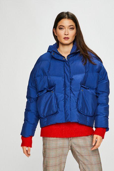 kurtka damska niebieska z podwyższonym kołnierzem