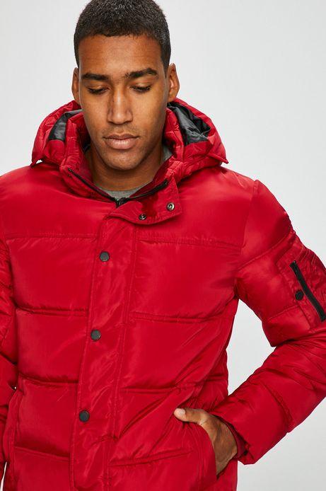 Kurtka męska czerwona pikowana z kapturem