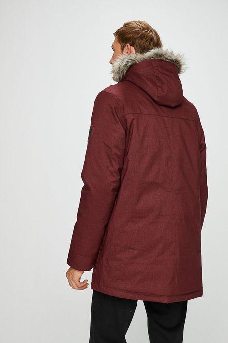 Kurtka męska czerwona ocieplana z futerkiem
