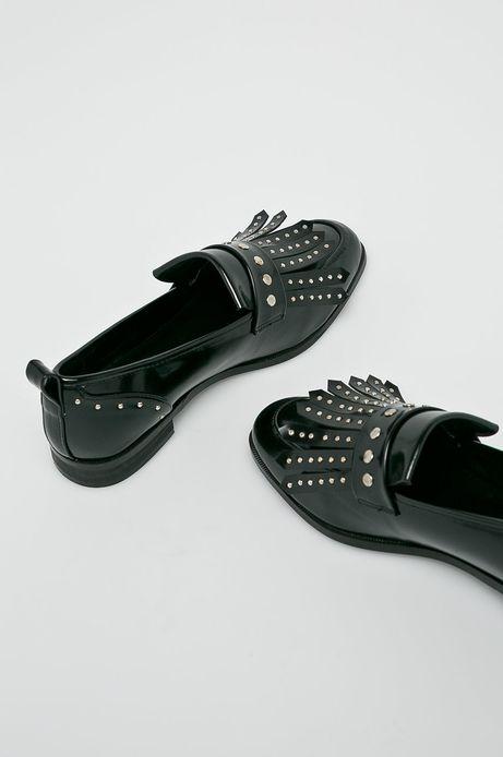 Półbuty damskie czarne z ozdobnymi detalami