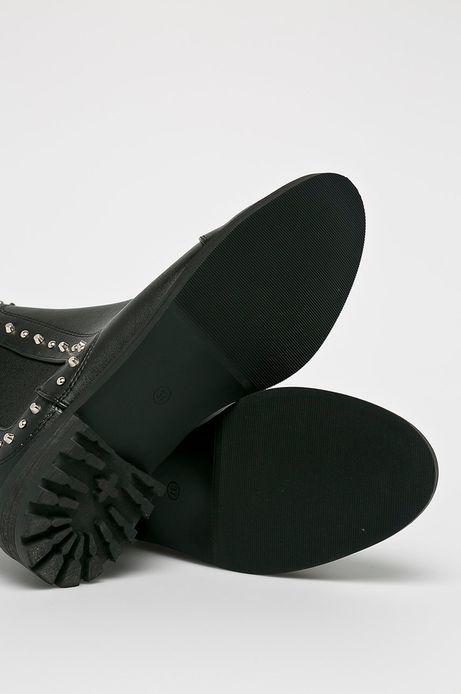 Botki damskie czarne z ćwiekami