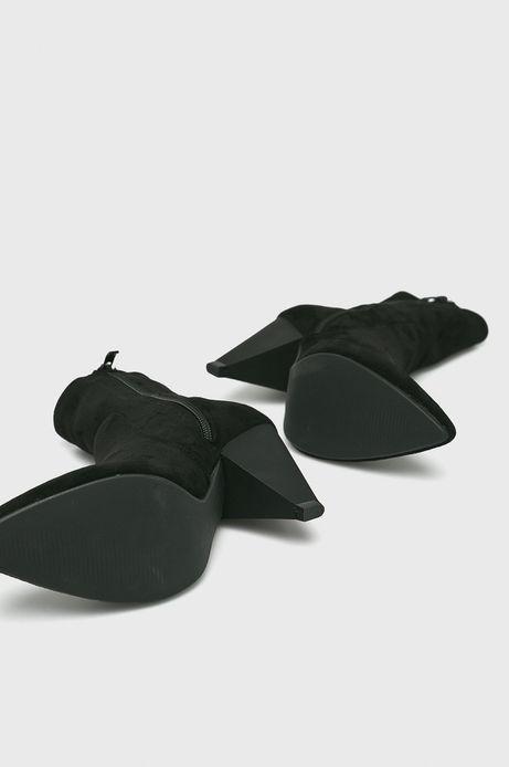 Botki damskie czarne nieocieplane na szpilce